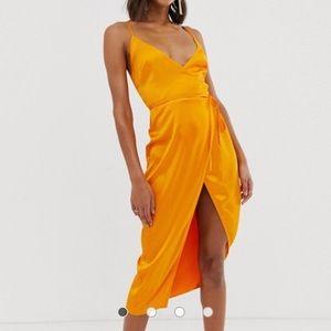 ASOS DESIGN cami midi wrap dress in satin